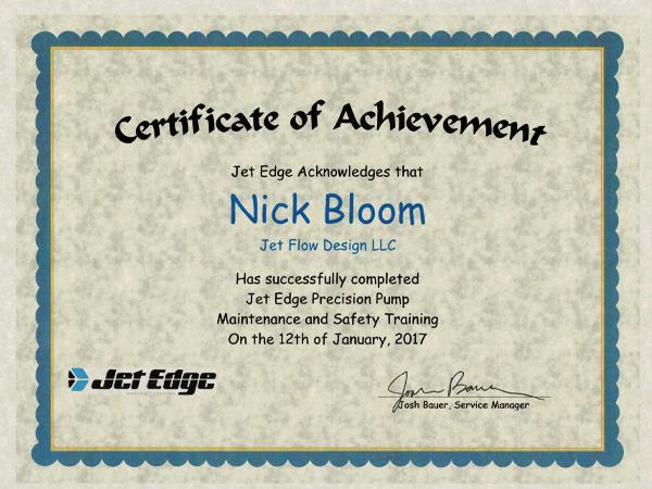 Jet Edge Certification